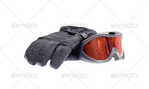 Ski Snowboard Goggles with Gloves Isolated on White - Sports/Activity Conceptual