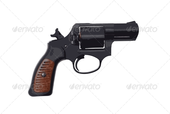 Image of a Handgun on a White Background - Miscellaneous Vectors