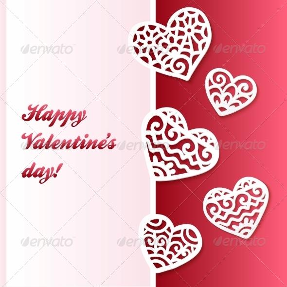 Vector Cut Out Paper Lacy Hearts Valentines Card - Decorative Symbols Decorative