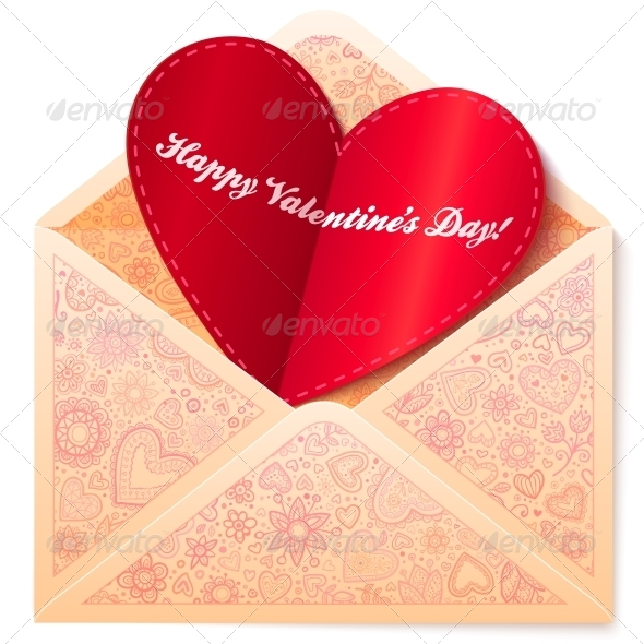 Vector Ornate Envelope with Red Paper Heart - Valentines Seasons/Holidays