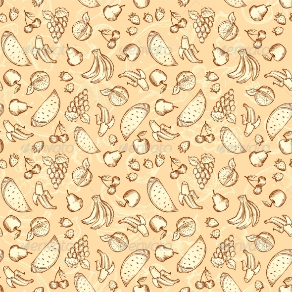 Vintage Sketched Fruits Seamless Pattern - Food Objects