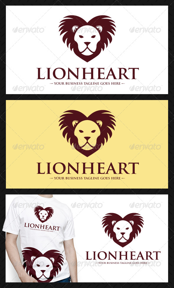Lion Heart Logo Template - Animals Logo Templates