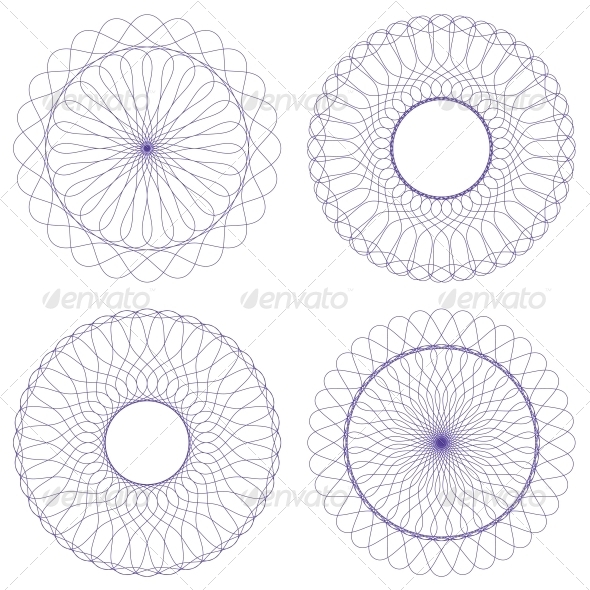 Set of Vector Guilloche Rosettes - Patterns Decorative