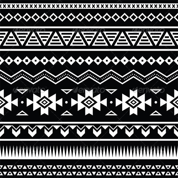 Aztec Seamless Pattern, Tribal Black and White - Patterns Decorative