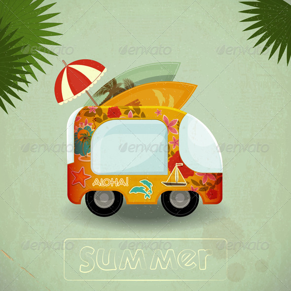 Summer Travel Bus in Retro Style - Travel Conceptual