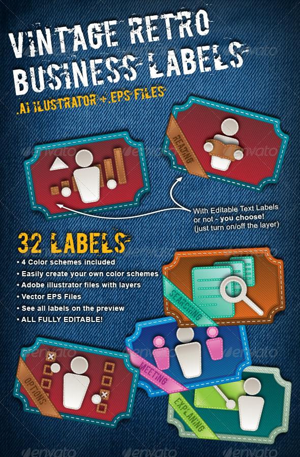 Vintage Retro Business Labels - Business Conceptual