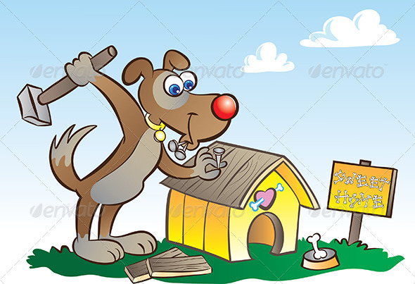 Dog and Kennel - Animals Characters