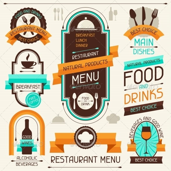 Restaurant Menu, Banners and Ribbons - Food Objects