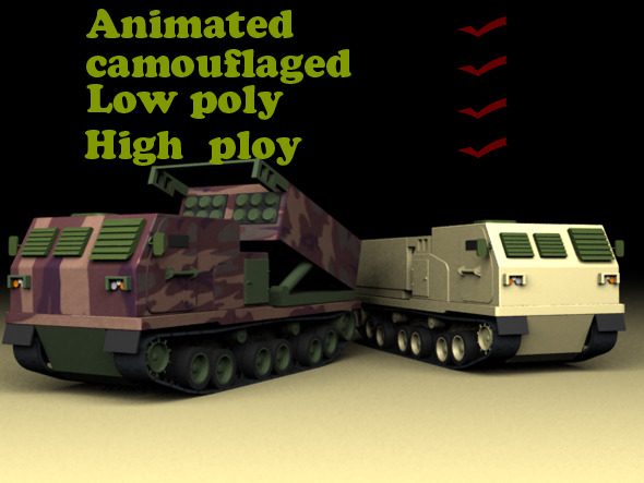 Mlrs Launcher Animated Low Poly High Poly - 3DOcean Item for Sale