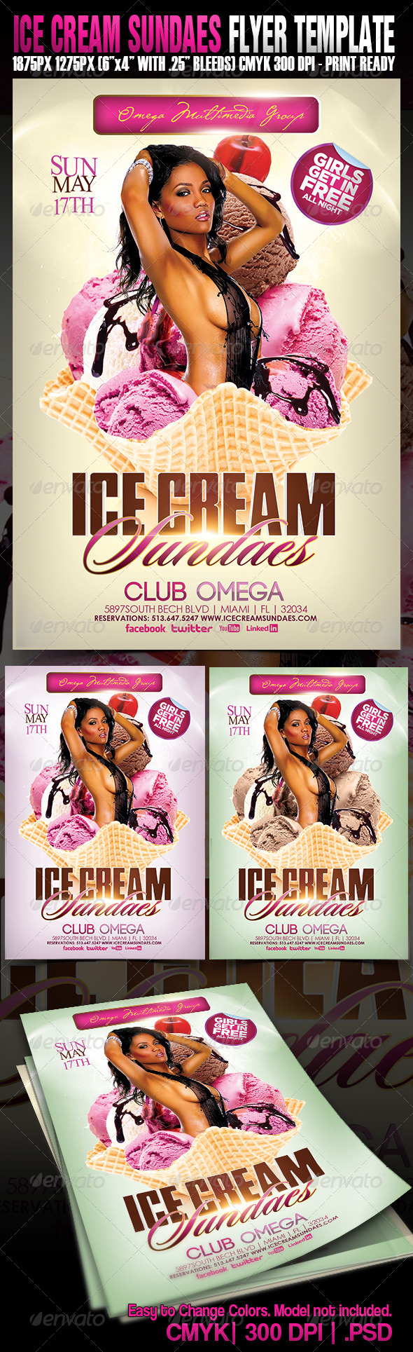 Ice Cream Sundaes - Events Flyers