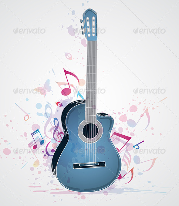 Background with Blue Guitar - Miscellaneous Vectors
