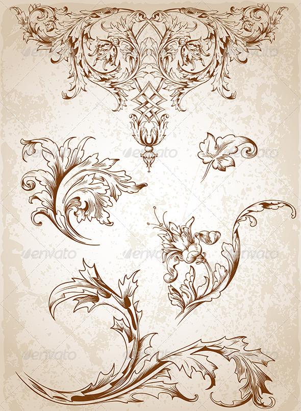 Vintage Victorian Floral Elements  - Flourishes / Swirls Decorative