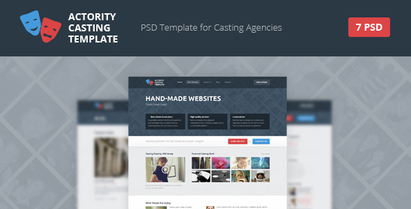 Actority - PSD Template for Casting Agencies - Corporate PSD Templates