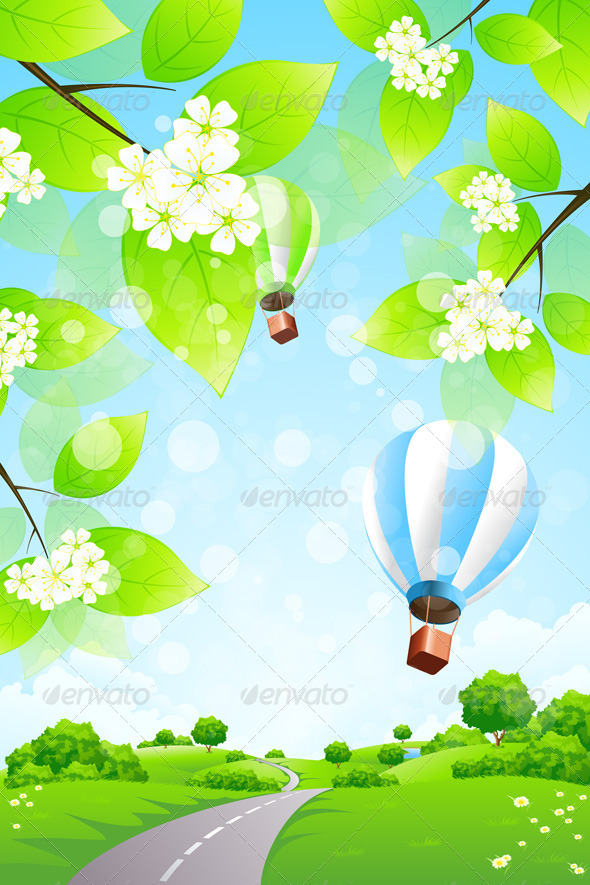 Green Landscape with Balloons - Landscapes Nature