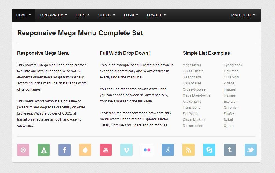 Responsive Mega Menu Complete Set