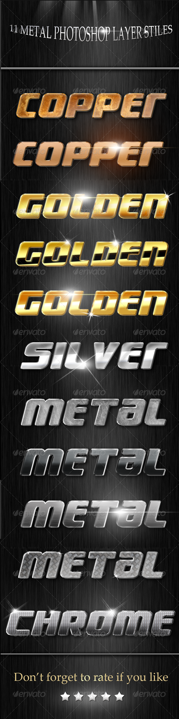 Metal Layer styles  - Text Effects Styles