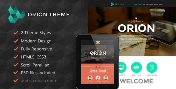 Orion Responsive Parallax One Page Portfolio - Creative Site Templates