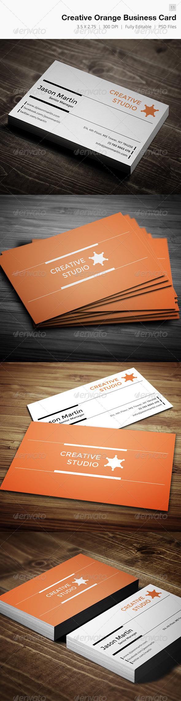 Creative Orange  Business Card  - Corporate Business Cards
