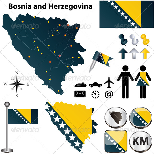 Map of Bosnia and Herzegovina - Travel Conceptual
