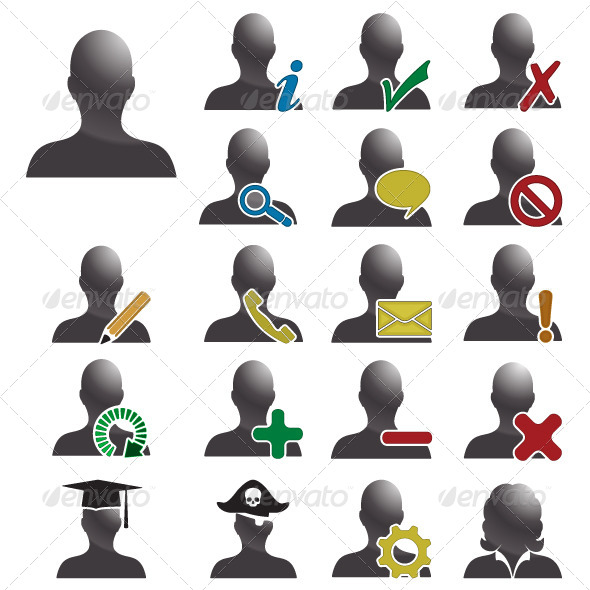 Users Database Vector Icons - People Characters