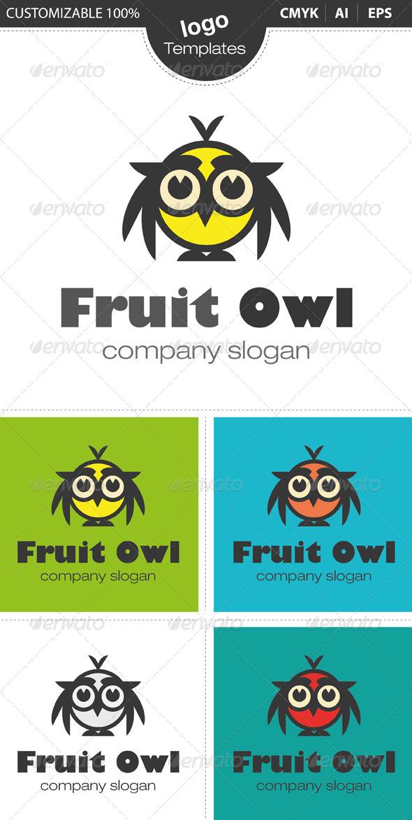 Fruit Owl Logo - Nature Logo Templates