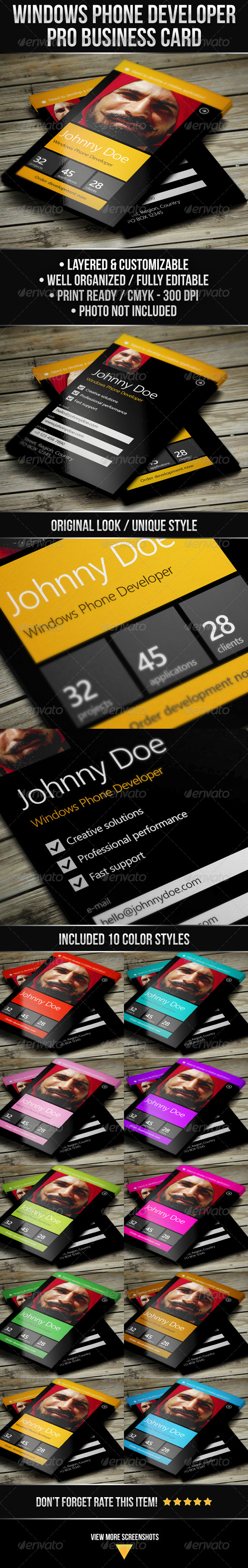 Windows Phone Developer Business Card - Industry Specific Business Cards