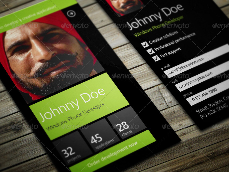 Windows Phone Developer Business Card by vinyljunkie | GraphicRiver