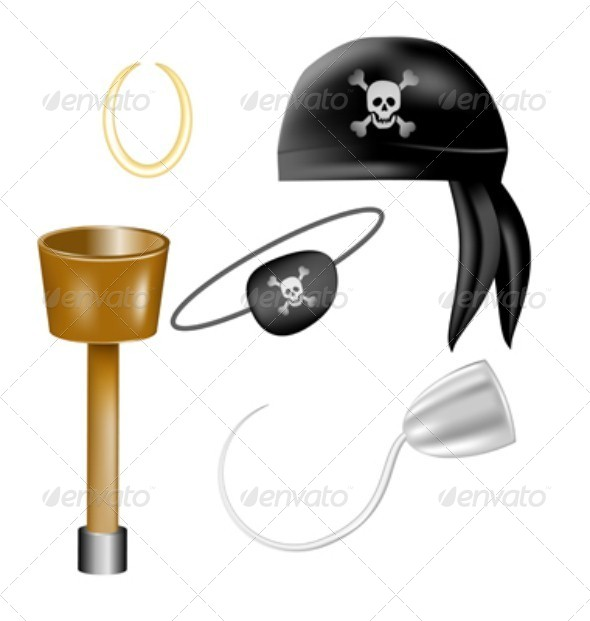 Set of Pirate Items - Man-made Objects Objects