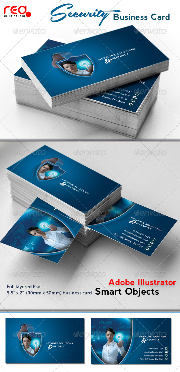 Network Solutions & Security Business Card - Industry Specific Business Cards