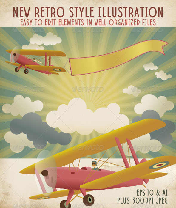 Retro Style Biplane with Banner in a Radiant Sky - Travel Conceptual