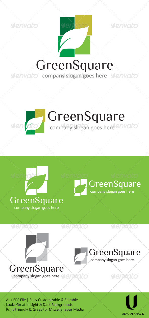 Green Square - Nature Logo Templates