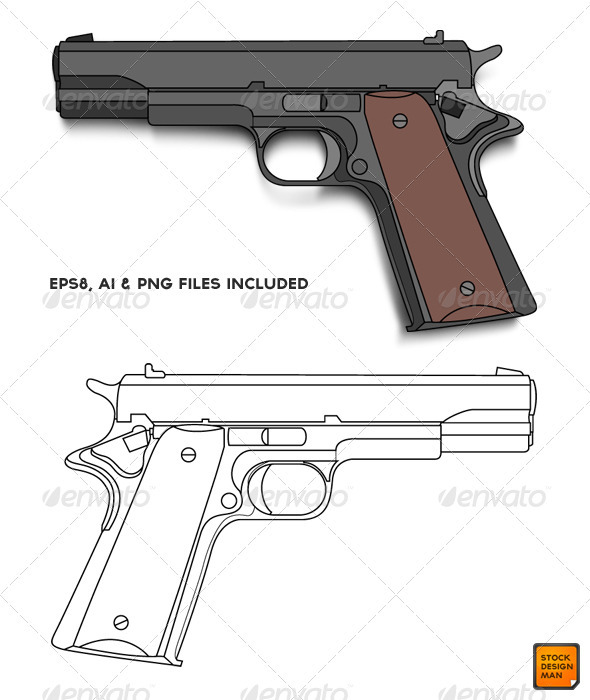 Colt 45 Vector - Objects Vectors