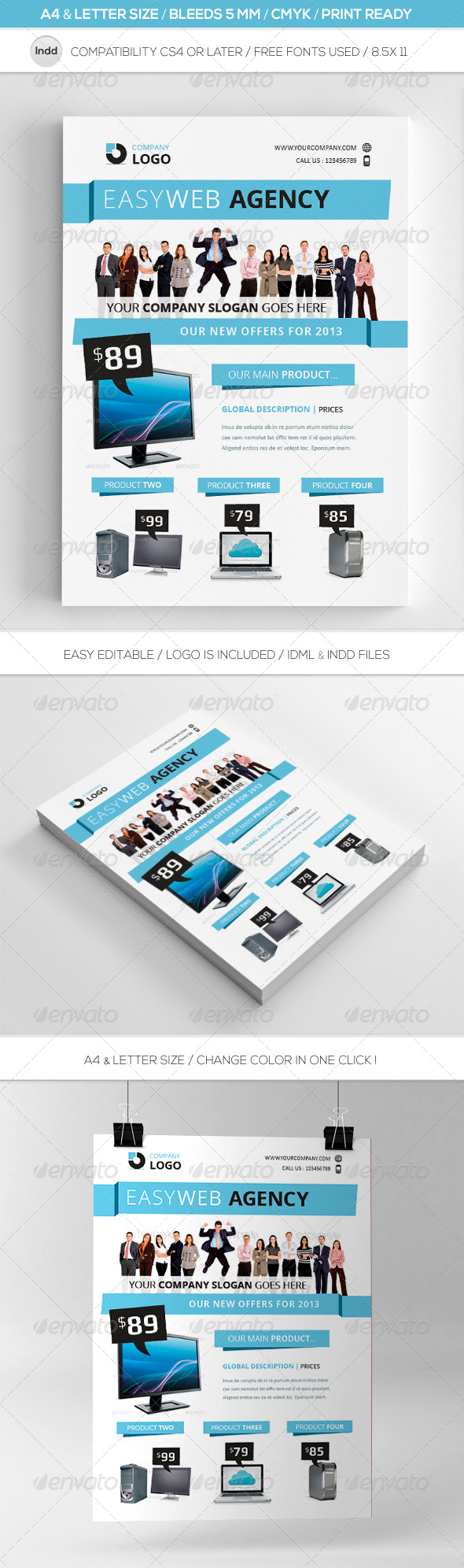 Clean Indesign Commerce Flyer Template A4 & Letter - Commerce Flyers