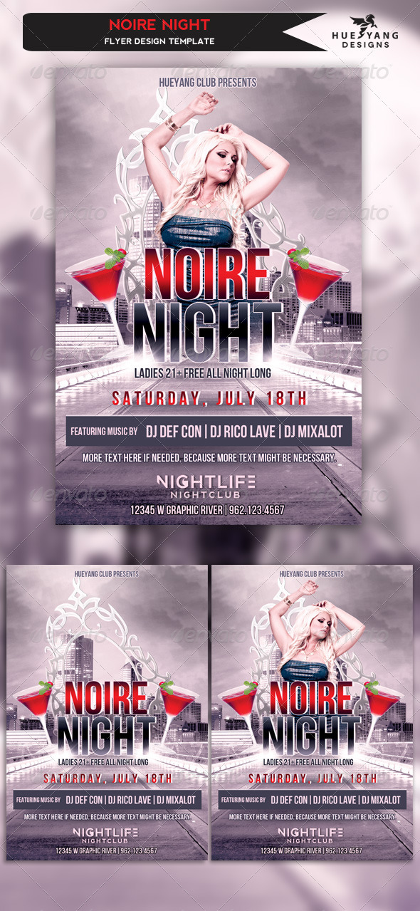 Noire Night Flyer - Clubs & Parties Events