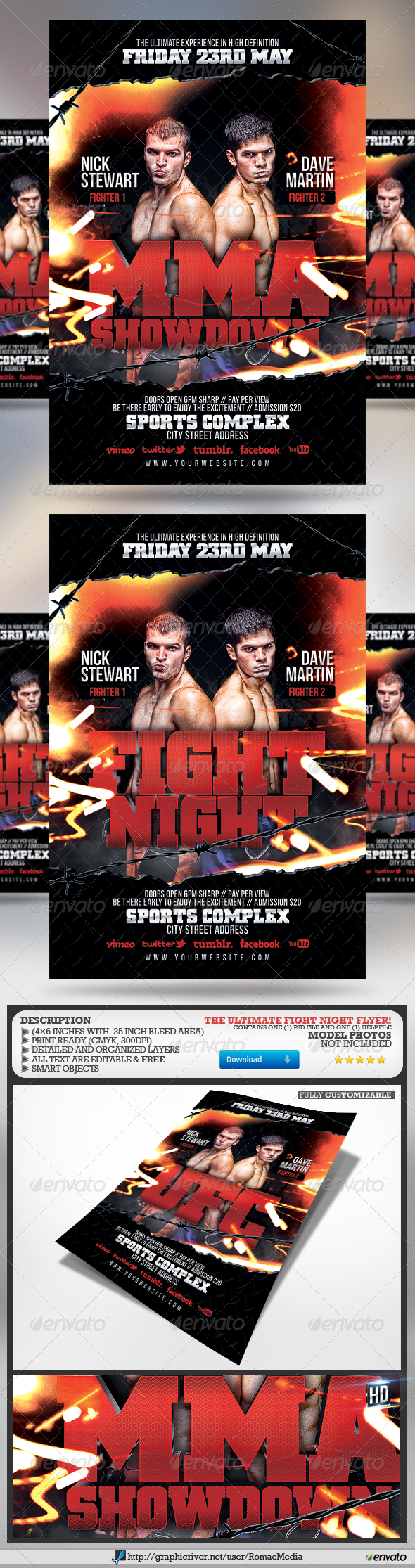Fight Night Flyer - Sports Events
