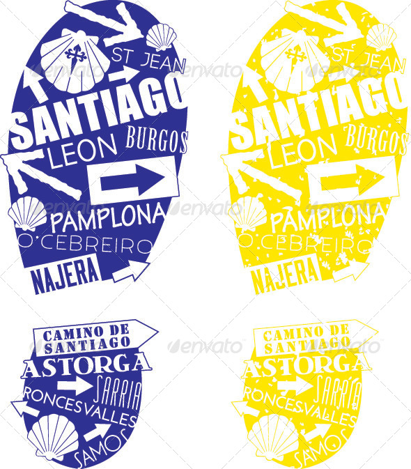Camino de Santiago Footprints - Travel Conceptual