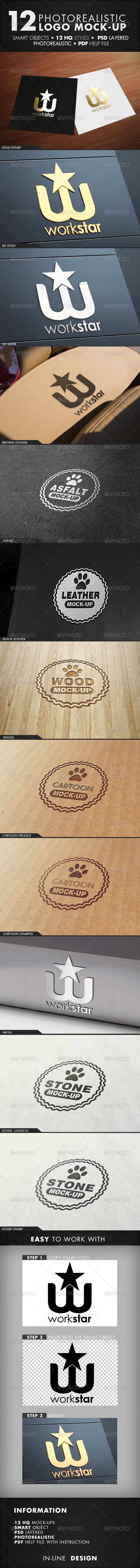 12 Photorealistic Logo Mock-Up / Set.1 - Logo Product Mock-Ups