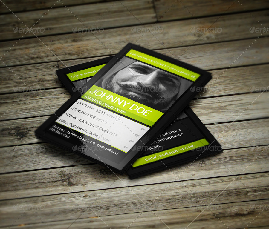 Android Developer Business Card by vinyljunkie | GraphicRiver
