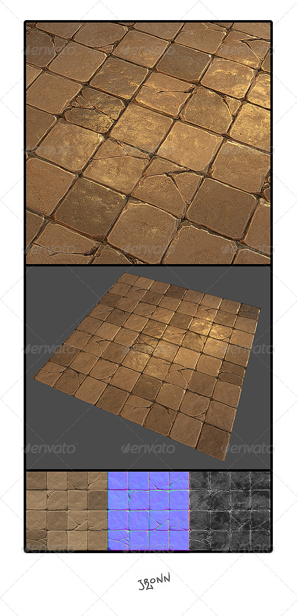 Mud Stone Floor Tile 01 - 3DOcean Item for Sale