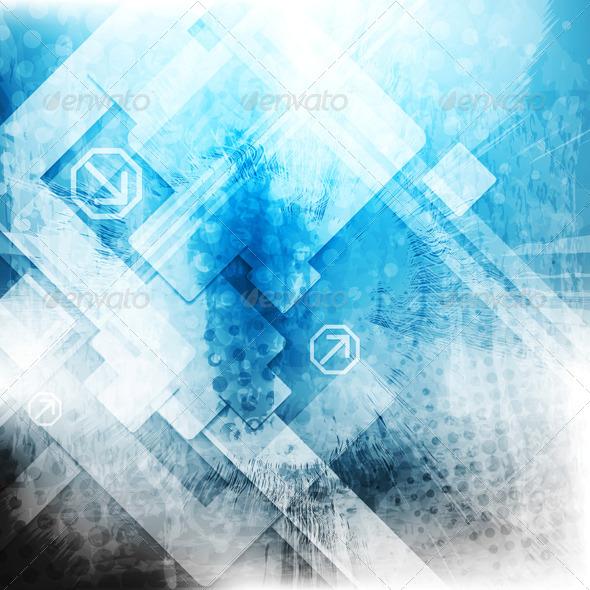 Vector Blue Tech Grunge Backdrop - Backgrounds Decorative