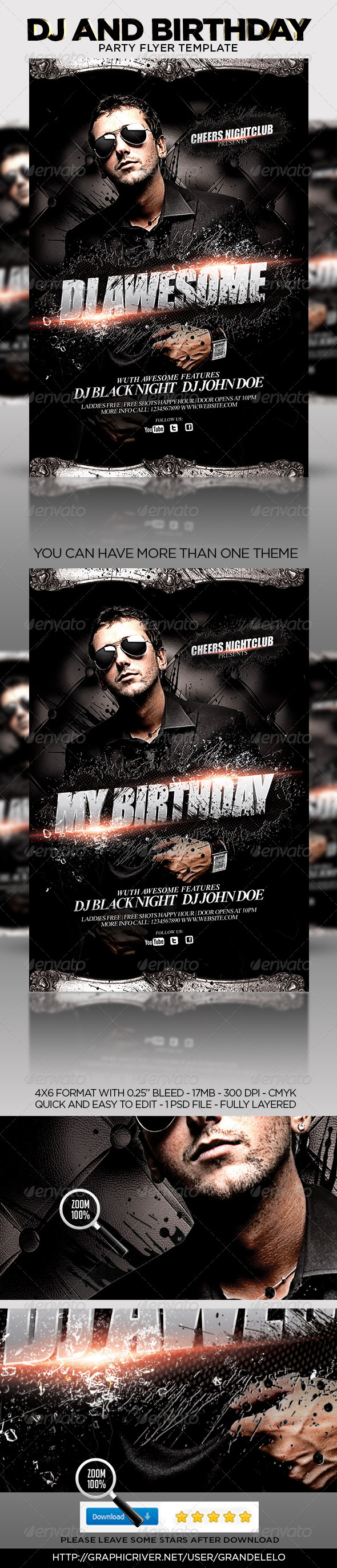 DJ or Birthday Party Flyer Template - Clubs & Parties Events