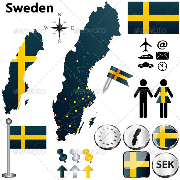 Map of Sweden with Regions - Travel Conceptual