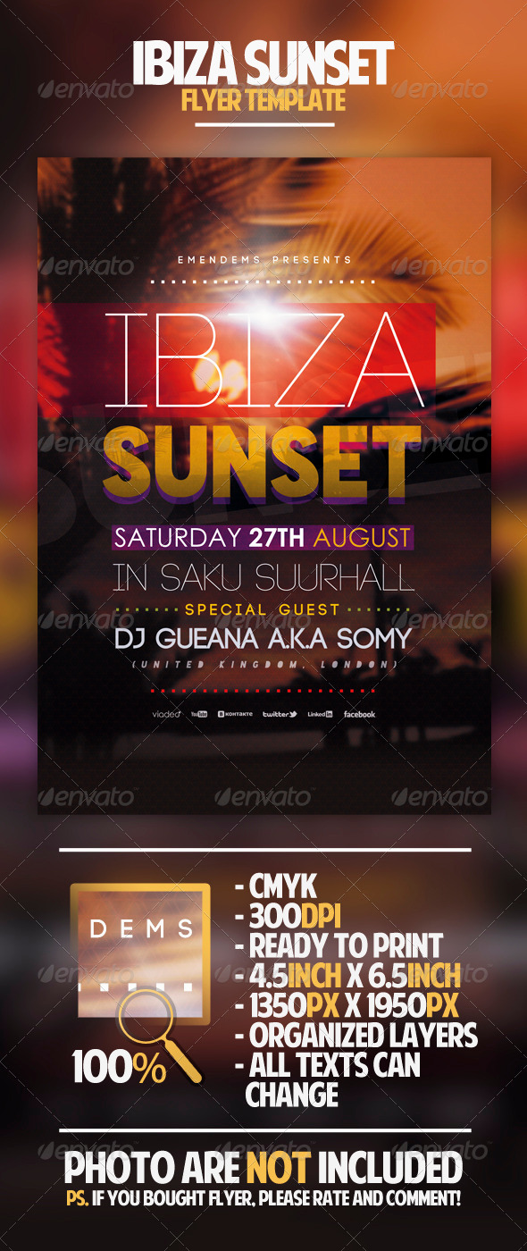 Ibiza Sunset Flyer Template - Clubs & Parties Events
