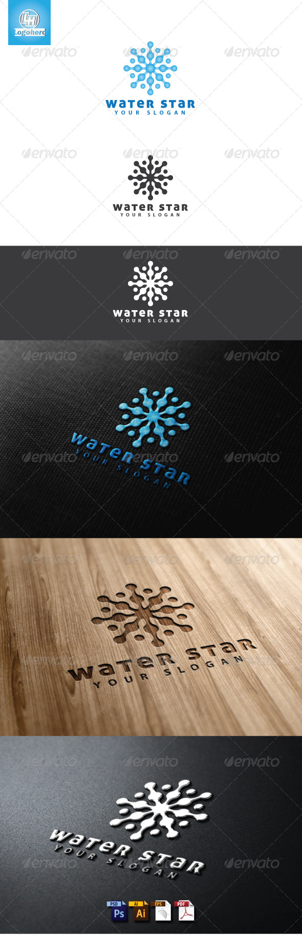Water Star Logo Template - Nature Logo Templates