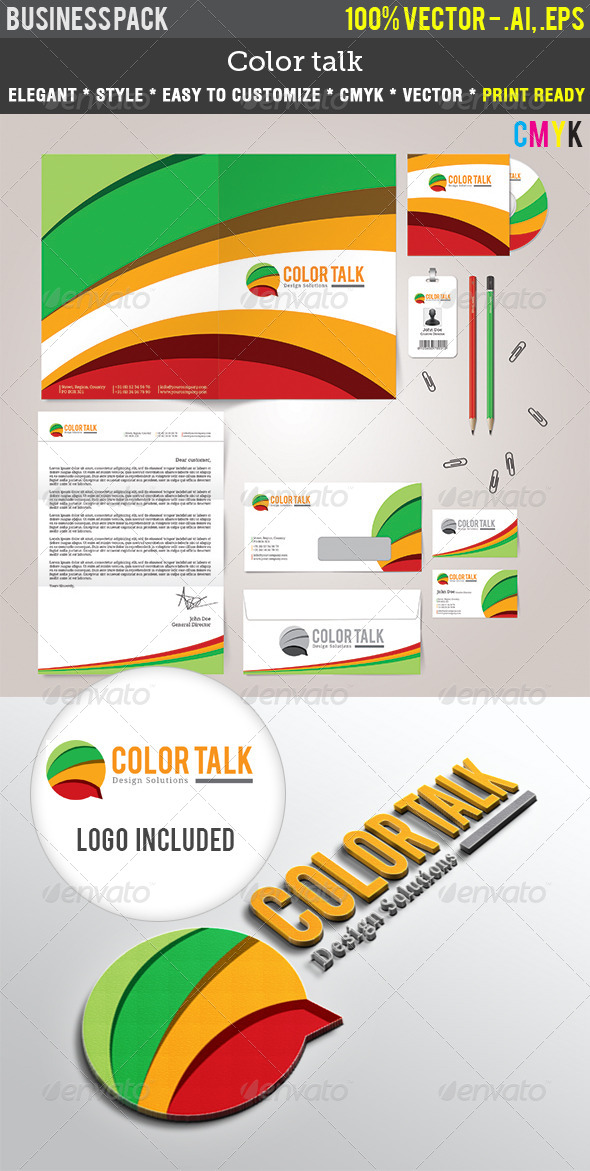 ColorTalk Indentity Pack - Stationery Print Templates