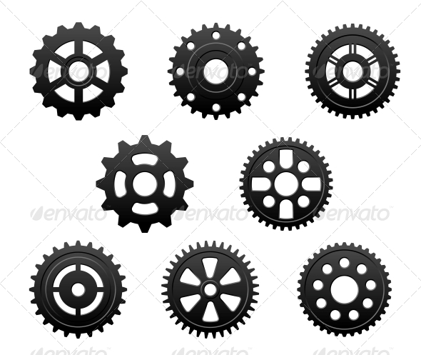 Pinions and Gears Set - Miscellaneous Vectors