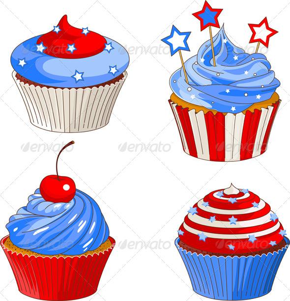 Patriotic Cupcakes - Vectors
