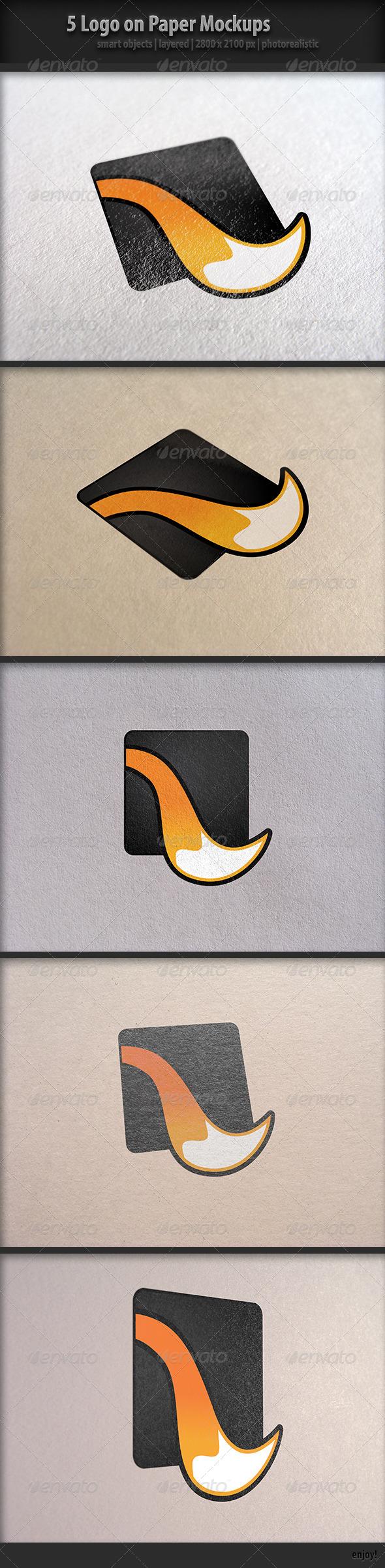 5 Logo on Paper Mock-Ups - Logo Product Mock-Ups