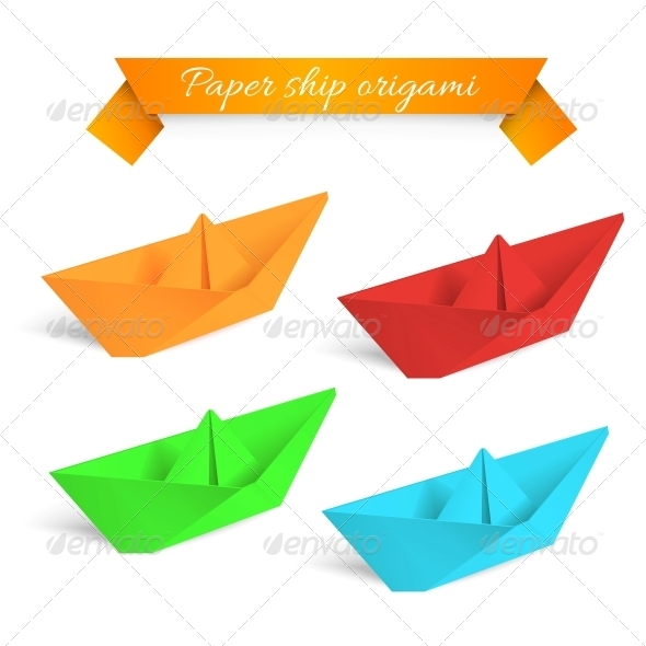 Four Colorful Paper Origami Ships - Abstract Conceptual