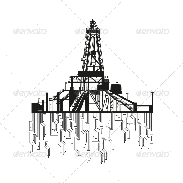 Oil Rig Silhouette - Abstract Conceptual